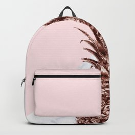 Rose gold pineapple white marble and pink color block Backpack