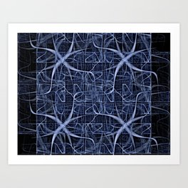 Dark Thoughts Mind Map Abstract in Blue Art Print