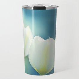 Aqua Blue Tulip Photography, Teal Turquoise White Flowers, Floral Nature Travel Mug