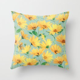 Painted Golden Yellow Daisies on soft sage green Throw Pillow