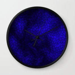 Stained glass texture of snake blue leather with dark heat spots. Wall Clock