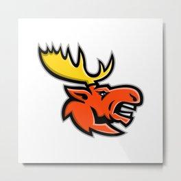 Angry Moose Head Mascot Metal Print