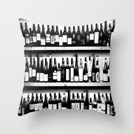 Wine Bottles in Black And White #decor #society6 #buyart Throw Pillow