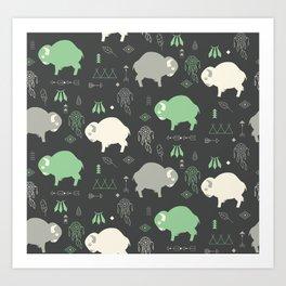 Seamless pattern with cute baby buffaloes and native American symbols, dark gray Art Print