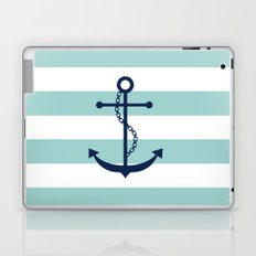 Navy Blue and Mint Anchor and Stripes Laptop & iPad Skin