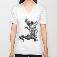 wrestling V-neck T-shirts featuring Crocodile wrestling! by Noughton