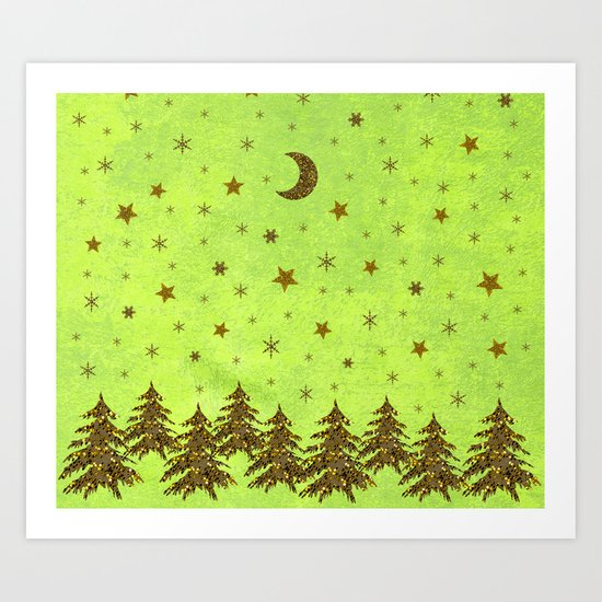 Sparkly Christmas tree, stars, moon on abstract green paper Art Print