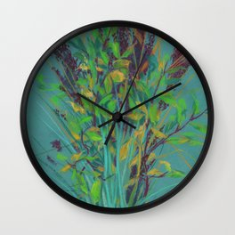 Autumn bouquet on teal background Wall Clock