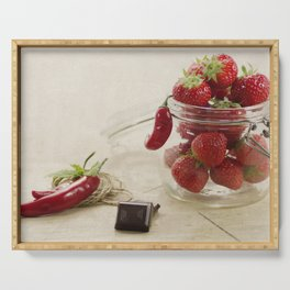 Strawberries and chocolate in a glas Serving Tray