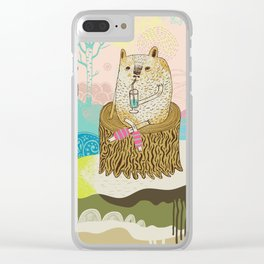 Sheep chillaxing Clear iPhone Case