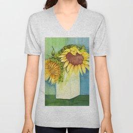 Sleepytime Sunflowers Unisex V-Neck