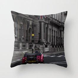 British Red Car Throw Pillow