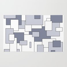 Squares - white and gray. Rug