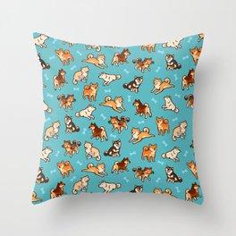 shibas in blue Throw Pillow