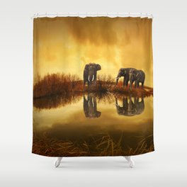 Elephant 3 Shower Curtain