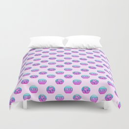 "Vaporwave pattern with palms and words ""yikes"" #2 Duvet Cover"