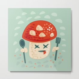 Funny Cartoon Poisoned Mushroom Metal Print