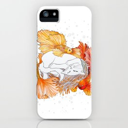 Cat and Golden Fishes iPhone Case