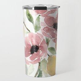 Watercolor-poppies-and-lemons Travel Mug