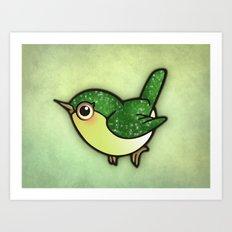 Cute Green Bird Art Print