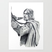 gondor Art Prints featuring The Horn of Gondor by Christine Margeson