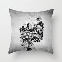 jack skellington Throw Pillows featuring Jack Skellington by bimorecreative
