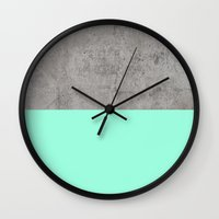 concrete Wall Clocks featuring Sea on Concrete by cafelab