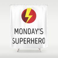 superhero Shower Curtains featuring Monday's Superhero by flydesign