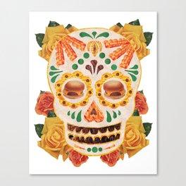 """Mexican Day of the Dead Bacon Sugar Skull """"Calavera de Comida"""" Canvas Print"""