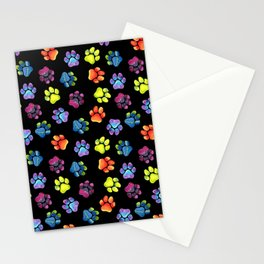 Black Rainbow Paw Print Pattern Stationery Cards