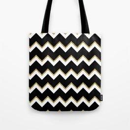 Black Gold White Chevron Pattern Tote Bag