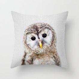 Baby Owl - Colorful Throw Pillow