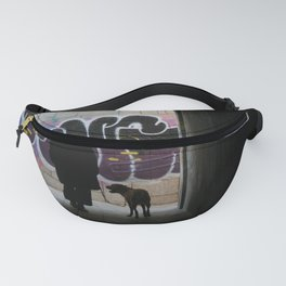 Woman and dog, graffiti Fanny Pack