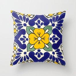 talavera mexican tile in yellow Throw Pillow