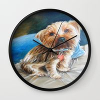 yorkie Wall Clocks featuring Yogi the Yorkie by Steve James