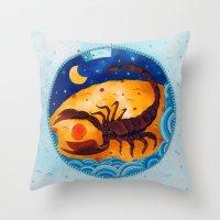 scorpio Throw Pillows featuring Scorpio by Sandra Nascimento