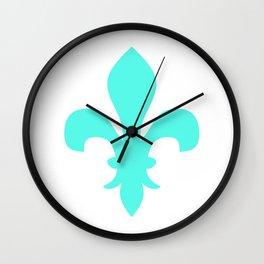 Fleur de Lis (Turquoise & White) Wall Clock