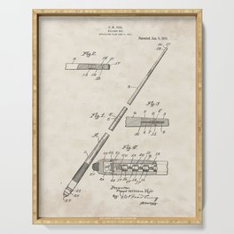 Billiard Cue Vintage Patent Hand Drawing Serving Tray