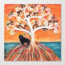 Schipperke beauty of orange spiritual tree  Canvas Print