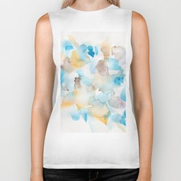 180713 Watercolour Blue Yellow 6 | Watercolor Brush Strokes Biker Tank