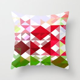 Red Rose Edges Abstract Triangles 1 Throw Pillow