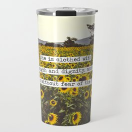 She is clothed with strength and dignity Travel Mug