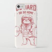 iPhone Cases featuring Go Hard or Go Home Sloth by Huebucket