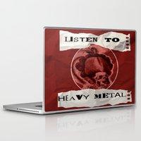 heavy metal Laptop & iPad Skins featuring Listen to Heavy Metal by Kayla Danielle
