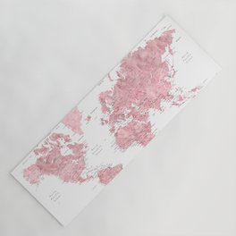 Light pink, muted pink and dusty pink watercolor world map with cities Yoga Mat