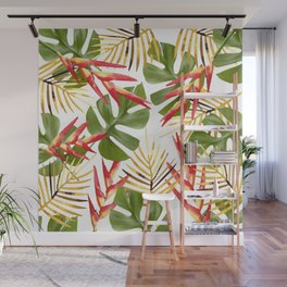 Flower Heliconia Palm Leaf Illustration white Wall Mural