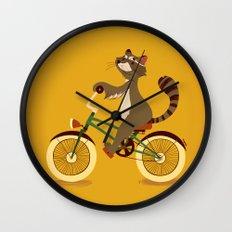Raccoon on a bicycle Wall Clock