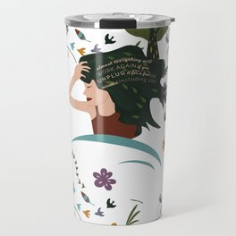 Pattern Illustration of a Woman Relaxing Surrounded by Flowers, Birds, Tree and a Motivational Quote Travel Mug