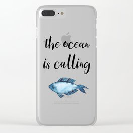 The ocean is calling / blue fish watercolor Clear iPhone Case