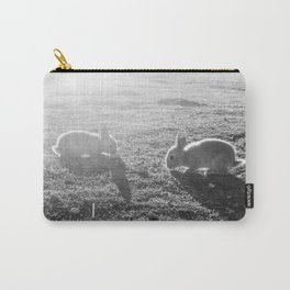 Bunny // Black and White Cute Nursery Photograph Adorable Baby Bunnies in the Field Carry-All Pouch